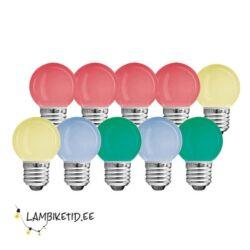 10 x LED värviline 0,6W G45
