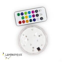 Veekindel RGB LED valgusti IP68 2W 3xAA puldiga