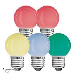 5 x LED värviline 0,6W G45